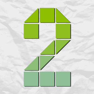 Number 2 From Squares And Triangles On A Paper-background. Vector Illustration