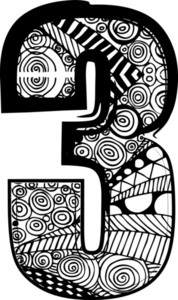 Number 3 With Abstract Drawing. Vector Illustration