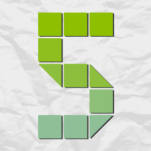 Number 5 From Squares And Triangles On A Paper-background. Vector Illustration