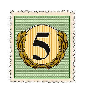 Number 5 In Stamp