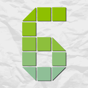 Number 6 From Squares And Triangles On A Paper-background. Vector Illustration