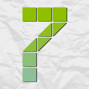Number 7 From Squares And Triangles On A Paper-background. Vector Illustration
