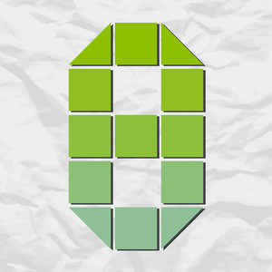 Number 8 From Squares And Triangles On A Paper-background. Vector Illustration