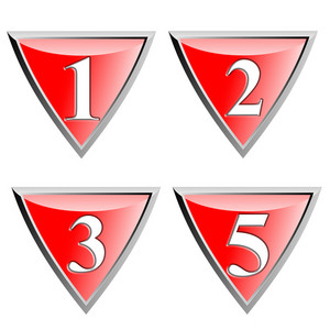 Number Icon Diamond Red Metal