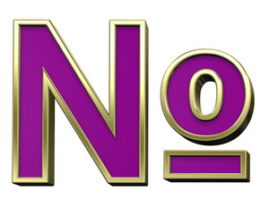 Number Mark From Violet With Gold Shiny Frame Alphabet Set