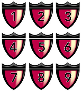 Numbers Shield Crown Retro