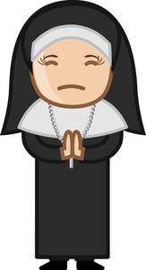 Nun Praying To God - Cartoon Vector