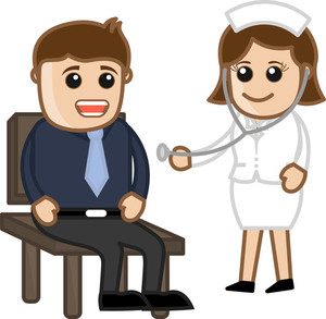 Nurse Checking Patient - Medical Cartoon Characters