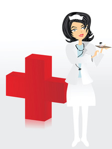 Nurse Doing Her Job And Medical Icon