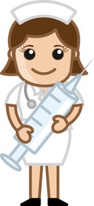 Nurse Having Syringe - Medical Cartoon Vector Character