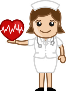 Nurse Holding Heart - Medical Cartoon Vector Character