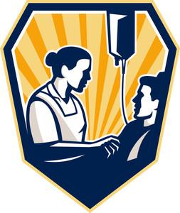 Nurse Tending Sick Patient Retro