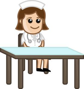 Nurse Waiting  - Medical Cartoon Characters