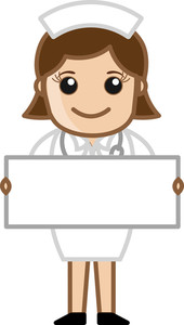 Nurse With Blank Banner - Doctor & Medical Character Concept