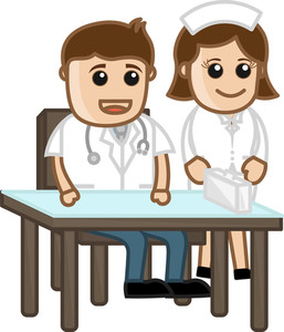 Nurse With Doctor - Medical Cartoon Characters