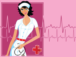Nurse With Heart Beat Background