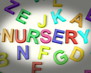 Nursery Written In Plastic Kids Letters