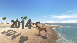 Oasis In The Desert  With Horse 2014