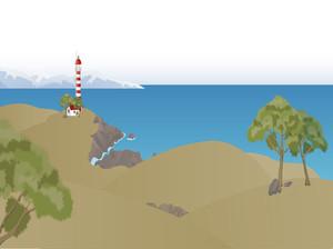 Ocean Shore Landscape. Vector.