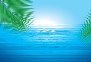 Ocean Sunrise. Vector Background.