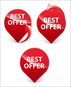 Offer Buttons Icons Vectors