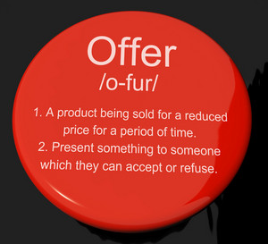 Offer Definition Button Showing Discounts Reductions Or Sales