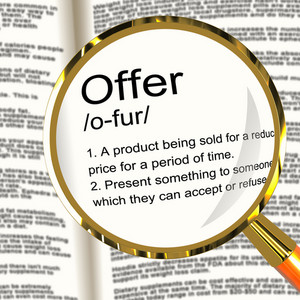 Offer Definition Magnifier Showing Discounts Reductions Or Sales