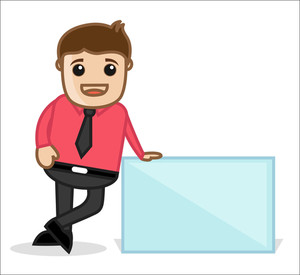 Office And Business Cartoon Character Vector Illustration - Having A Blank Banner