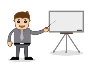 Office And Business Cartoon Character Vector  Illustration - Presenting A Slideshow