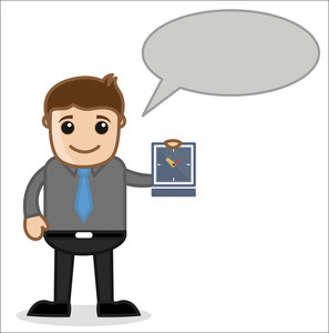 Office And Business Cartoon Character Vector  Illustration - Showing Timing With Speech Bubble