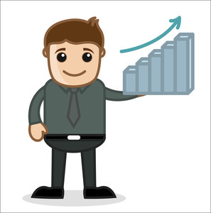 Office And Business Cartoon Character Vector  Illustration - Stats Bar