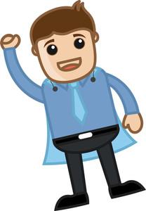 Office Character As Super Hero - Business Cartoon