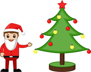 Office Man In Santa Costume With Christmas Tree - Cartoon Business Characters
