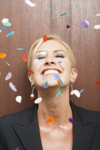 Office person celebrating