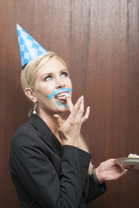 Office person with cake