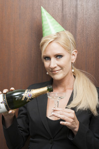 Office person with champage