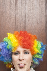 Office person with rainbow wig