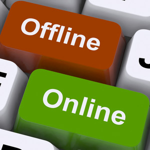 Offline Online Keys Show Internet Communication Status