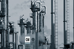 oil and gas with information sign