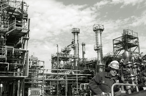 oil and gas worker inside refinery
