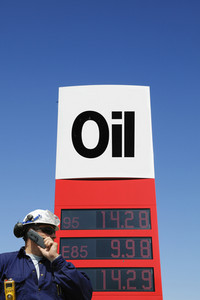 oil engineer, worker and information sign