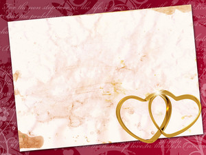 Old Blank Love Letter Paper With Two Golden Rings