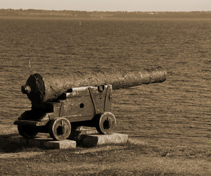 Old Cannon At The Seaside Sepia Image