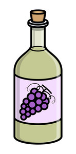 Old Cork Wine Bottle - Vector Illustration