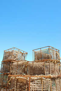 Old Fishing Cages In The Port Of Cascais