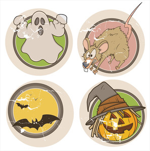 Old Grunge Halloween Stickers