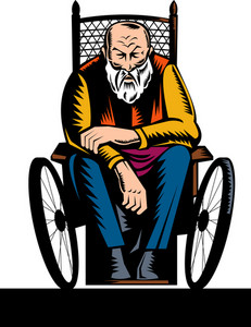 Old Handicapped Man Sitting On Wheelchair