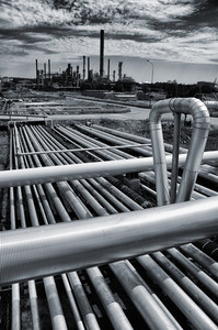 old oil and gas refinery, pipelines