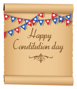 Old Scroll Usa Constitution Day Vector Illustration