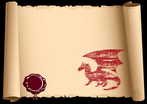 Old Scroll With  Dragon